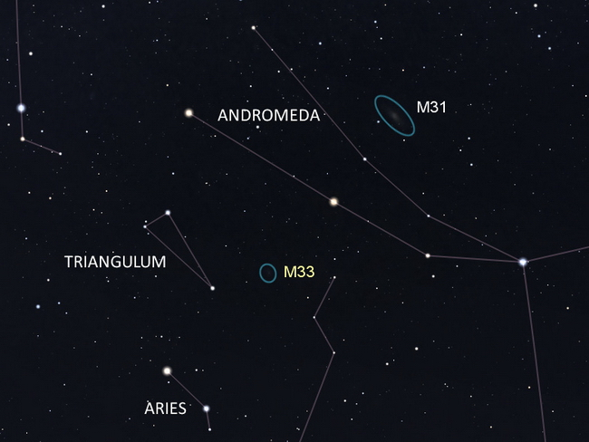 Use this chart to find M33 in Triangulum.