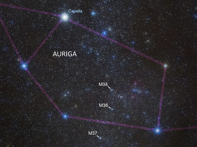 Use this image to guide you to the clusters of Auriga. Photo courtesy John McDonald