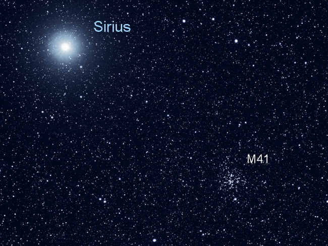 Open cluster M41 is situated 4 degrees south of Sirius. North is to the upper left .