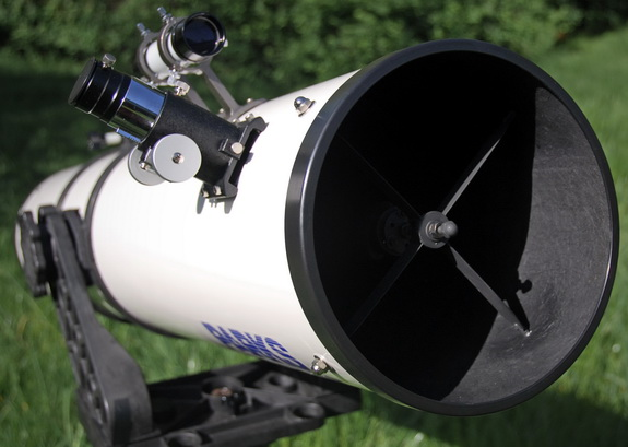 Reflector telescope front view